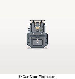 Travel backpack line illustration