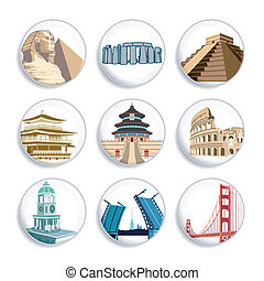 Travel badges | Set 2 - Badges with famous places all around...