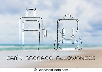 travel bag and backpack, caption cabin baggage allowances -...