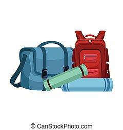 travel bag and backpack icon, flat design
