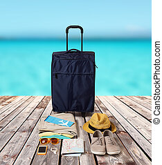 travel bag and personal stuff for vacation - summer...