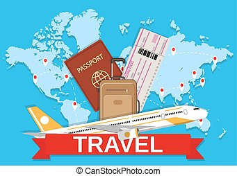 World tour concept logo long route in travel map with guide clip travel bag and world map gumiabroncs Images