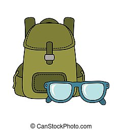 travel bag camping with eye glasses
