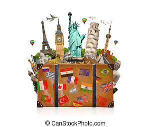 Travel bag full of famous monument of the world on white...