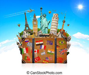 Travel bag full of famous monument of the world - Famous...