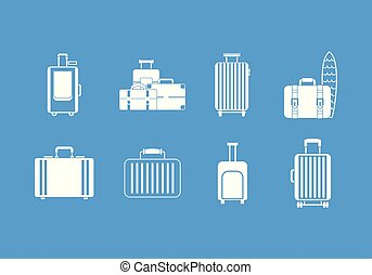 Travel bag icon blue set vector