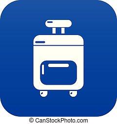 Travel bag icon blue vector