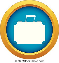 Travel bag icon blue vector isolated