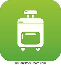 Travel bag icon green vector