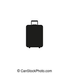 travel bag icon, isolated, black on the white background. Vector
