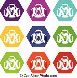 Travel bag icons set 9 vector