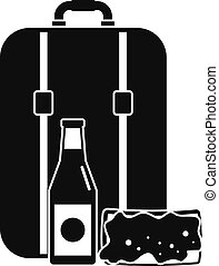 Travel bag lunch icon, simple style