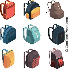 Travel bag pack. Isometric baggage colorful school bags vector illustrations