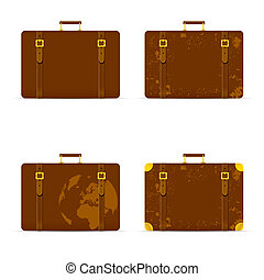 travel bag set ancient in brown color illustration