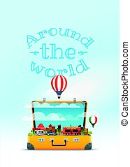 Travel bag vector illustration. Around the world