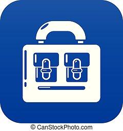 Travel bag vintage icon, simple black style