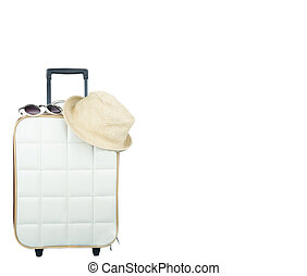 Travel bag with accessories on isolated white background.