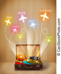 Travel bag with clothes and colorful planes flying out on...