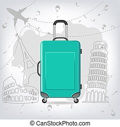Travel bag with different travel elements vector, Colosseum,...