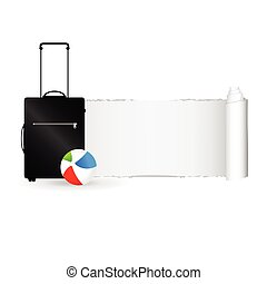 travel bag with tearing paper color vector illustration