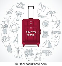 Travel bag with the set of tourism, journey, summer vacation doodle icons. Time to travel concept illustration