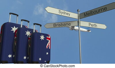 Travel baggage featuring flag of Australia, airplane and...