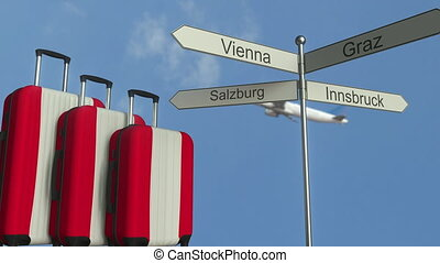 Travel baggage featuring flag of Austria, airplane and city...