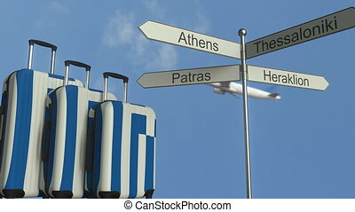 Travel baggage featuring flag of Greece, airplane and city...