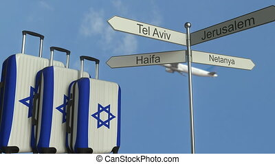 Travel baggage featuring flag of Israel, airplane and city...