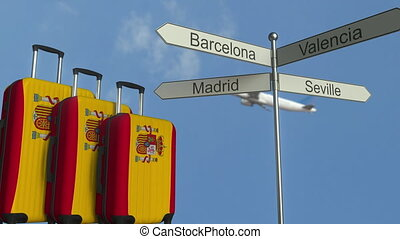 Travel baggage featuring flag of Spain, airplane and city...
