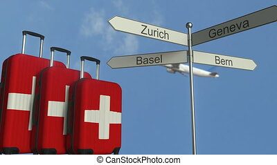 Travel baggage featuring flag of Switzerland, airplane and...