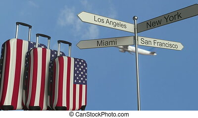 Travel baggage featuring flag of the United States, airplane...