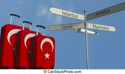 Travel baggage featuring flag of Turkey, airplane and city...