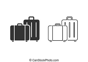Travel, baggage, tourism, luggage, airport vector line icon set