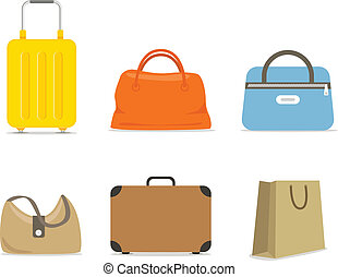 Travel bags collection isolated on white