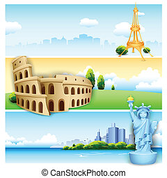 Travel Banner - illustration of of travel banner with world...