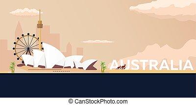 Travel banner to Australia. Vector flat illustration.