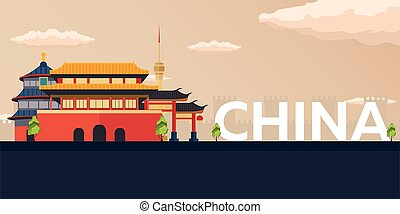 Travel banner to China. Vector flat illustration.