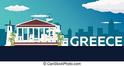 Travel banner to Greece. Vector flat illustration.