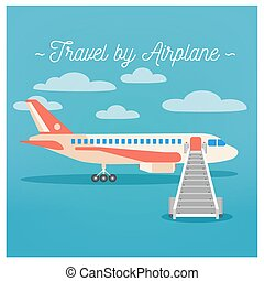 Travel Banner. Tourism Industry. Airplane Travel. Mode of Transportation. Vector illustration. Flat Style