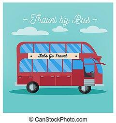 Travel Banner. Tourism Industry. Bus Travel. Mode of Transportation. Vector illustration. Flat Style