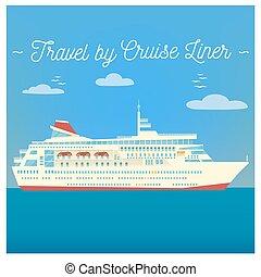 Travel Banner. Tourism Industry. Cruise Liner Travel. Mode of Transportation. Vector illustration. Flat Style