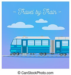 Travel Banner. Tourism Industry. Train Travel. Mode of Transportation. Vector illustration. Flat Style