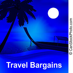 Travel Bargains Representing Low Cost Tours 3d Illustration