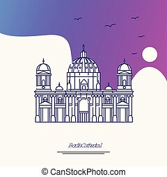 Travel BERLIN CATHEDRAL Poster Template. Purple creative background