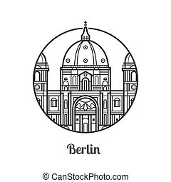 Travel Berlin Icon - Travel Berlin icon. Dome cathedral is...
