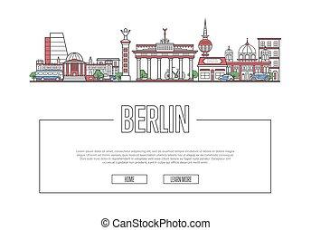 Travel Berlin poster in linear style - Travel Berlin vector...