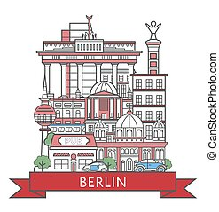 Travel Berlin poster in linear style - Travel Berlin poster...