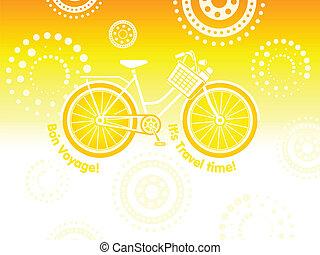 Travel bicycle postcard