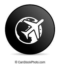travel black circle web glossy icon